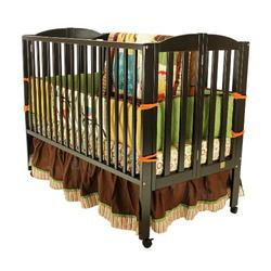 Dream On Me Full Size 2 in 1 Folding Stationary Side Crib, Black