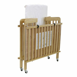 LA Baby Contemporary Style Portable Crib for Institutional Use, Natural