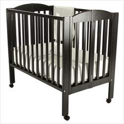 Dream On Me 2 in 1 Portable Folding Stationary Side Crib, Black