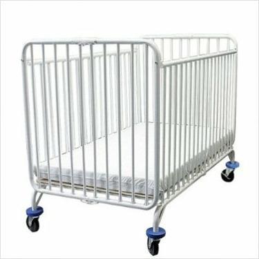 LA Baby Full Size Folding Metal Crib in White
