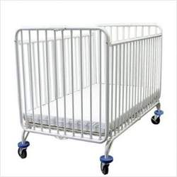 LA Baby Full Size Folding Metal Crib in White