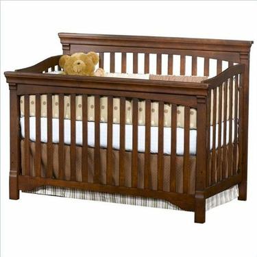Child Craft Arbor Gate Convertible Lifetime Wood Crib in Coach Cherry
