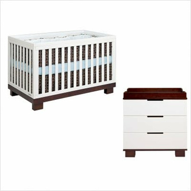 babyletto M6701QW / M6723QW Modo 3 in 1 Convertible Crib Nursery Set in White / Espresso