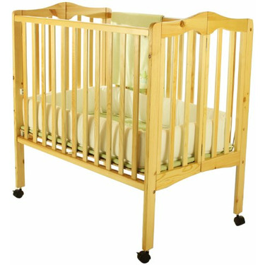 Dream On Me 2 in 1 Lightweight Folding Portable Stationary Side Crib, Natural