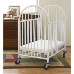 "L.A. Baby Deluxe Compact Standard Metal Crib w, 3"" Mattress in White"