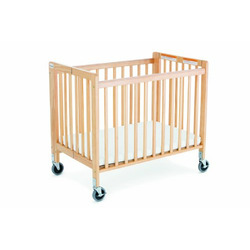 Foundations Little Dreamer Compact Size Folding Crib, Natural