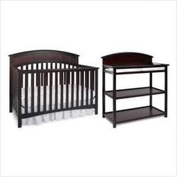 Graco 3610284-063 / 3610884-063 Charleston Classic 4-in-1 Convertible Crib Nursery Set in Cherry