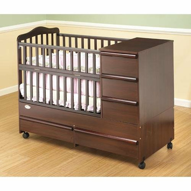 Orbelle Convertible Mini Wood Combo Crib N Bed in Cherry