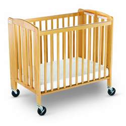 Foundations Hideaway Hardwood Compact Size Folding Crib, Natural