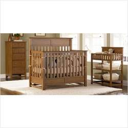 Bassett Baby 5598-0521 & 5598-D787 River Ridge 4-in-1 Convertible Crib Nursery Set in Oak