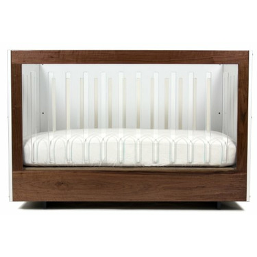 Spot On Square Roh One Sided Acrylic Panel Eco-friendly Crib, Walnut/White