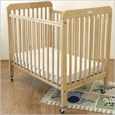 "L.A. Baby Hardwood Standard Port-a-Crib Compact Crib w, 3"" Mattress in Golden Natural"