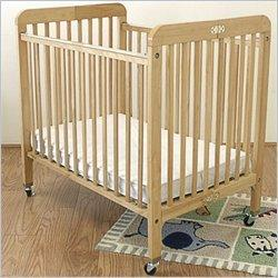 "L.A. Baby Hardwood Standard Port-a-Crib Compact Crib w, 3"" Mattress in Golden Natural"