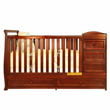 Athena Daphne I Convertible Crib and Changer Combo in Cherry