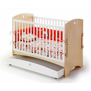 Offi CNPD Bebe 2 Crib in Natural Ply with Drawer