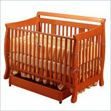 Stork Craft Heather Stages Cognac Fixed Side Baby Crib