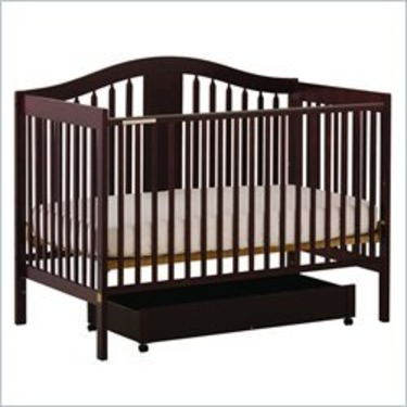 Stork Craft Chelsea 4-in-1 Convertible Wood Stages Crib in Cherry