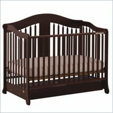 Stork Craft Rochester Stages Standard Wood Crib in Cherry