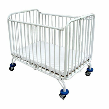 LA Baby Compact Folding Metal Crib, White