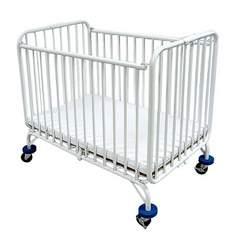 LA Baby Compact Folding Metal Crib, White
