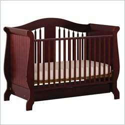 Stork Craft Aspen Stages Standard Wood Crib in Cherry