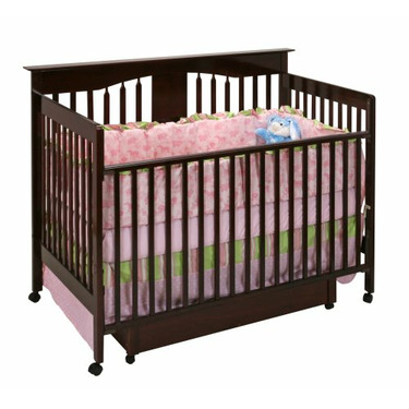 Stork Craft Lily 4-in-1 Crib with Drawer, Cherry
