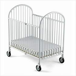 Foundations 4025-4S-CW Pinnacle Compact-Size Folding Crib with 4 Inch Innerspring Mattress - White
