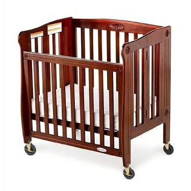 Foundations 50-SS-C4 Royale Folding Drop Side Compact Size Crib - Cherry