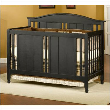 Watterson Lifetime Convertible Crib in Distressed Black