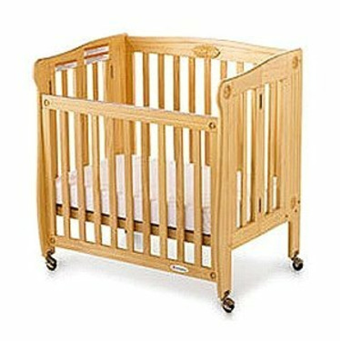 Foundations 50-SS-N4 Royale Folding Drop Side Compact Size Crib - Natural