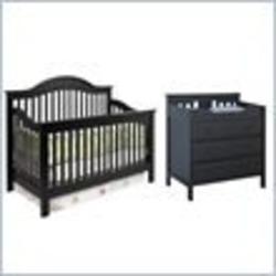 DaVinci Jayden 4-in-1 Convertible Wood Baby Crib Nursey Set in Ebony