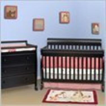 DaVinci Kalani 4-in-1 Convertible Wood Baby Crib Nursery Set in Ebony