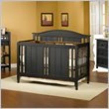 Child Craft Watterson 3 Piece Convertible Wood Crib Set in Distressed Black