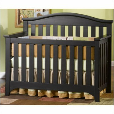 Child Craft Hawthorne Lifetime 4-in-1 Convertible Wood Crib in Espresso Pine