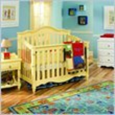 Lea Spring Garden Baby Convertible Wood Crib in Yellow
