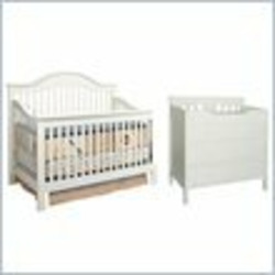 DaVinci Jayden 4-in-1 Convertible Wood Baby Crib Nursey Set in Antique White