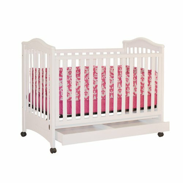 Athena Jeanie Crib with Drawer in White