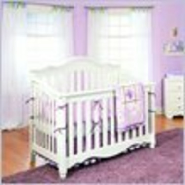 Lea Spring Garden Baby Convertible Wood Crib in White