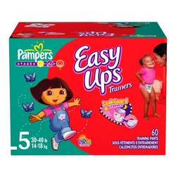 Pampers Easy Ups for Girls (Big Pack), Size 5, 60-Count