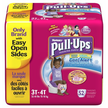Huggies Pull-Ups Training Pants with Cool Alert Wetness Liner, Girls, 3T-4T, 52-Count