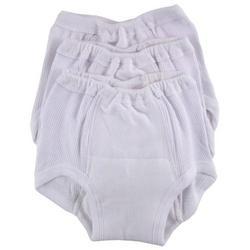 Luvable Friends 3 Pack Training Pants, White, Size 3