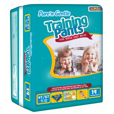 Pure 'n Gentle Training Pants for Girls & Boys, 4T-5T, X-Large Size, Over 38 Pounds, 19-Count Pack Bag (Pack of 4)