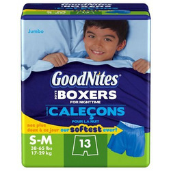 GoodNites Boys Boxers for Nighttime S-M (38-65 lbs) - 13-count