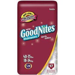 Huggies Pull-Ups Goodnites Underpants, Girls, Small/Medium, 17-Count