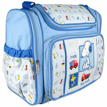 Blue Snoopy Large Baby Diaper Bag with Changing Pad + Plastic Wipes Case