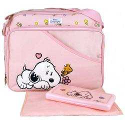 Baby Snoopy Large Pink Diaper Bag + Wipe Case