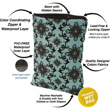 Planet Wise Diaper Wet Bag - Midnight Curl Large