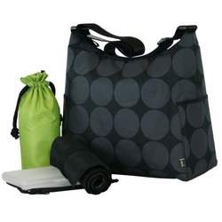 OiOi Hobo Designer Diaper Bag in Black Dot with Lime Green Interior and Accessories
