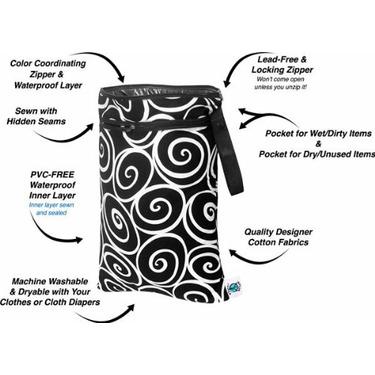 Planet Wise Wet/Dry Diaper Bag - Aqua Swirl