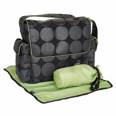 Charcoal Dot Messenger Diaper Bag in Green